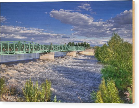 Flowing River And Bridge Wood Print