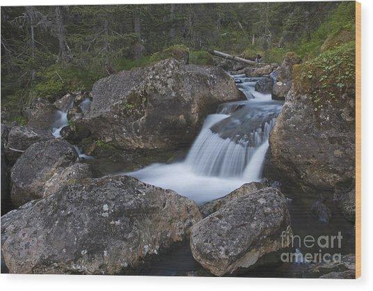 Flowing Through Boulders Wood Print by Tim Grams