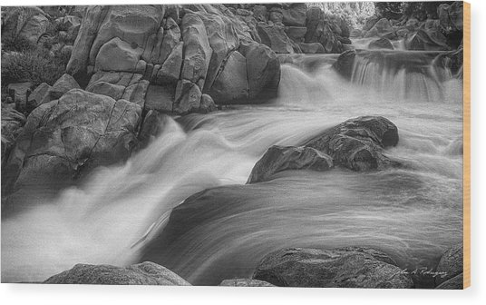 Flowing Waters At Kern River, California Wood Print