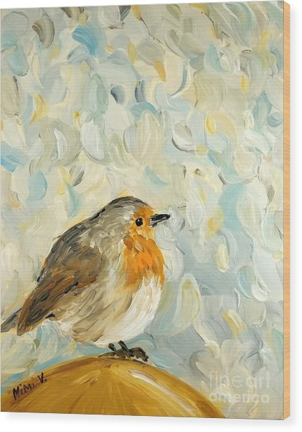 Fluffy Bird In Snow Wood Print