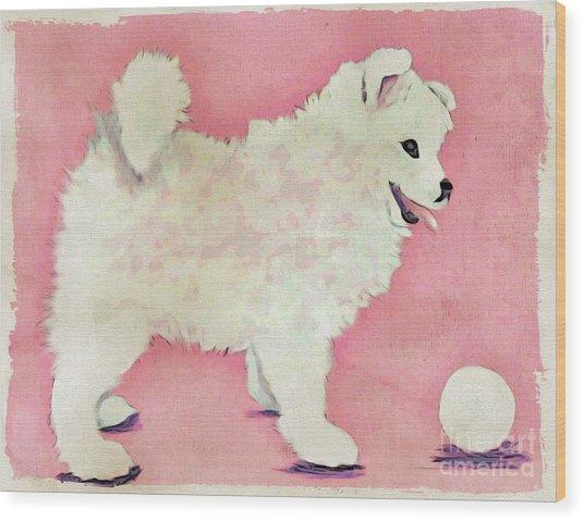 Fluffy Pup Wood Print