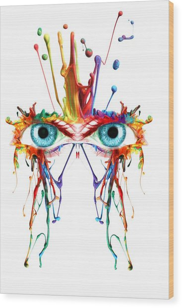 Fluid Abstract Eyes Wood Print