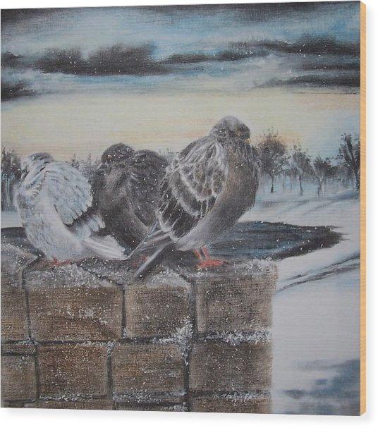 Flurries Wood Print by Kathleen Romana