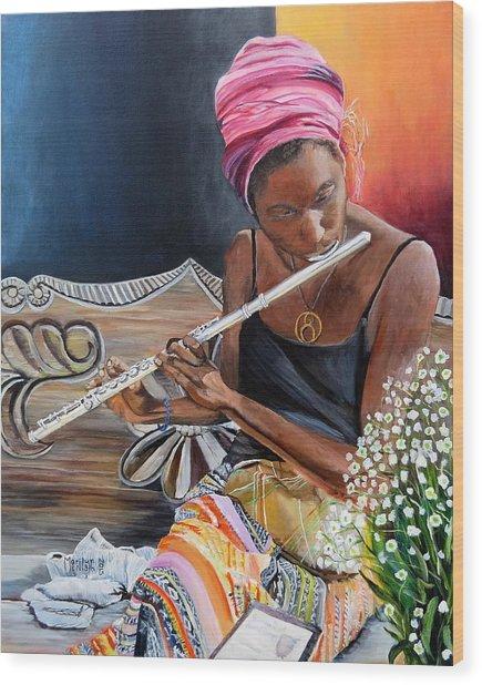 Flute Player Wood Print