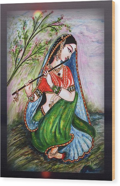 Flute Playing In - Krishna Devotion  Wood Print