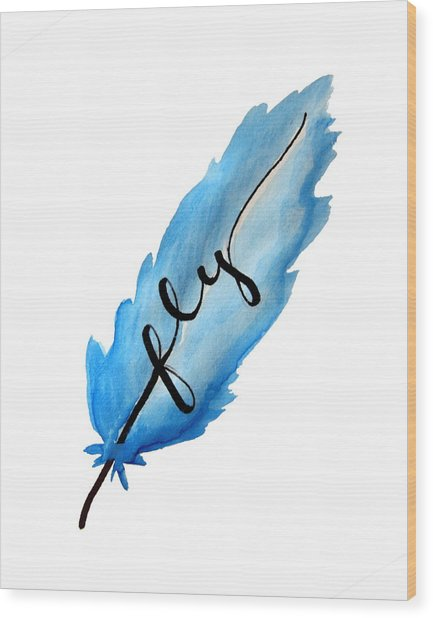 Fly Blue Feather Vertical Wood Print