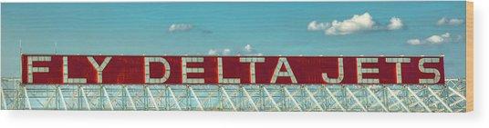 Fly Delta Jets Signage Hartsfield Jackson International Airport Art Atlanta, Georgia Art Wood Print
