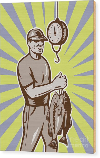 Fly Fisherman Weighing In Fish Catch  Wood Print
