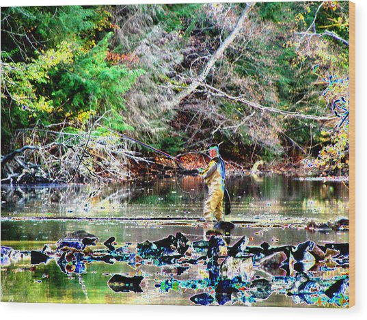 Fly Fishing Wood Print by Peter  McIntosh