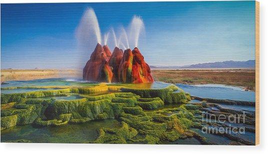 Fly Geyser Panorama Wood Print