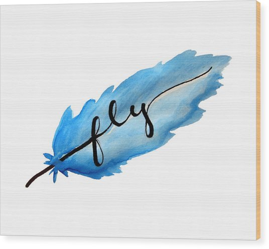 Fly Watercolor Feather Horizontal Wood Print
