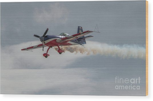 Flying Acrobatic Plane Wood Print