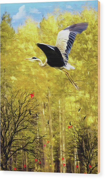 Flying Against The Wind Wood Print