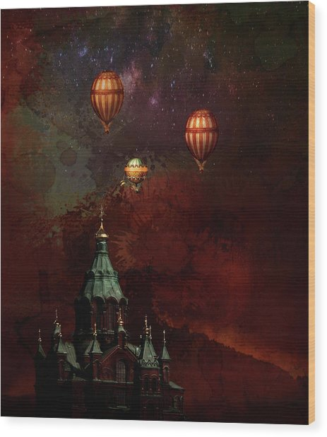Flying Balloons Over Stockholm Wood Print