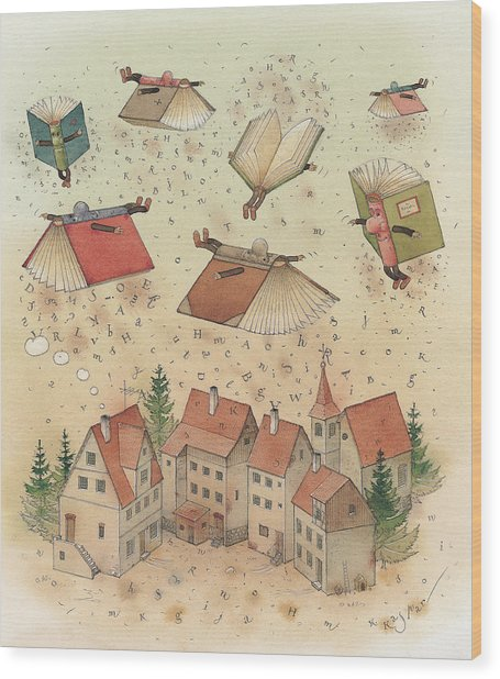 Flying Books Wood Print by Kestutis Kasparavicius