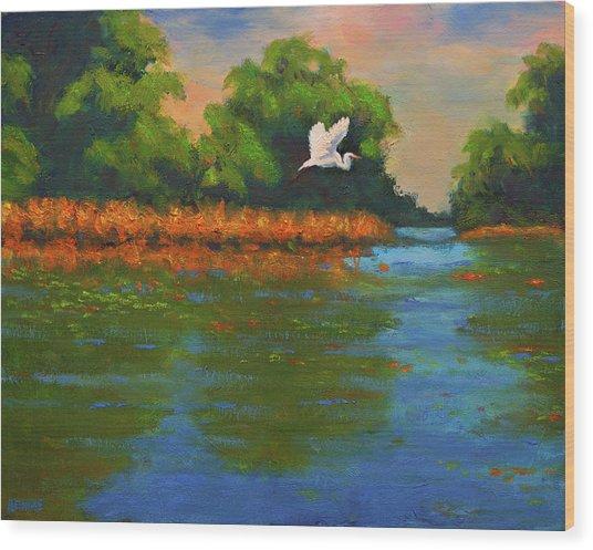 Langan Lake Heron II Wood Print