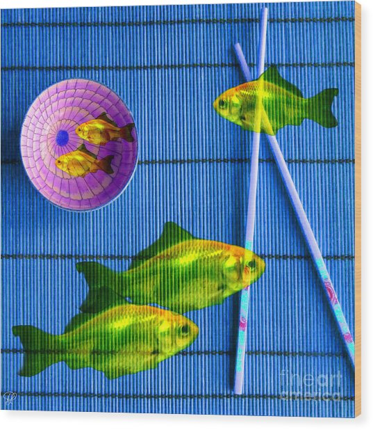Flying Fish And The Pink Moon Wood Print