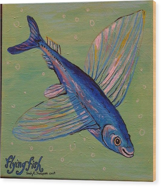 Flying Fish Wood Print by Emily Reynolds Thompson