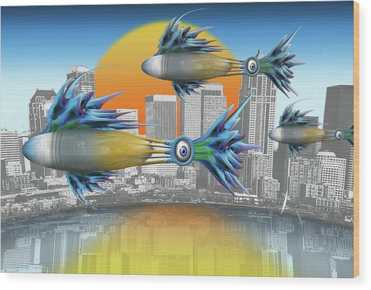 Flying Fisque  Wood Print