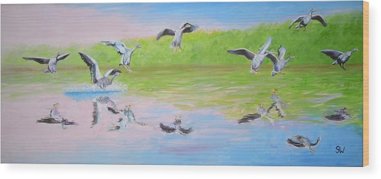 Flying Geese Wood Print