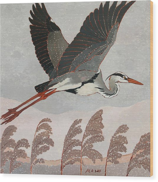Flying Heron Wood Print