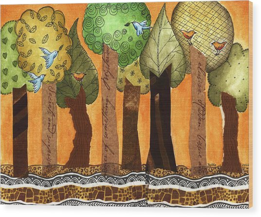 Flying In The Forest Wood Print