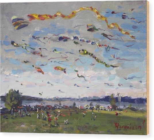 Flying Kites Over Gratwick Park Wood Print