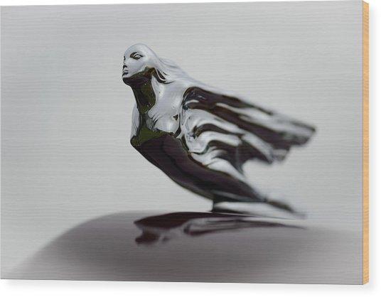 Flying Lady Hood Ornament Wood Print