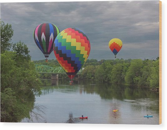 Flying Over The Androscoggin Wood Print