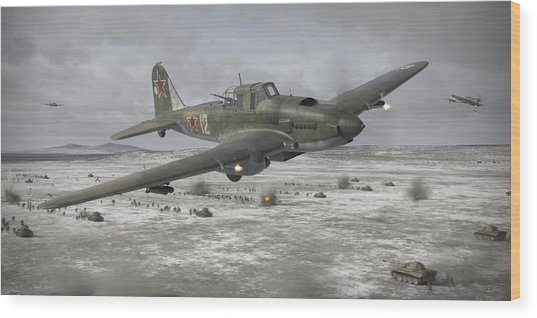 Flying Tank Wood Print
