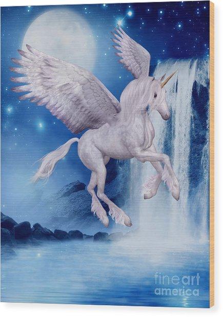 Flying Unicorn Wood Print