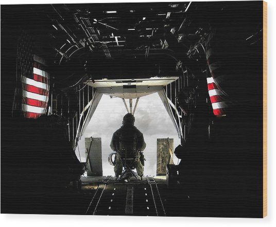 Flying With The Stars And Stripes In Afghanistan Wood Print