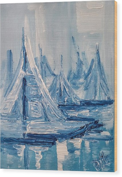 Wood Print featuring the painting Fog And Sails by Jennifer Hotai
