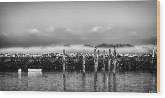 Fog Beyond The Breakwater Wood Print