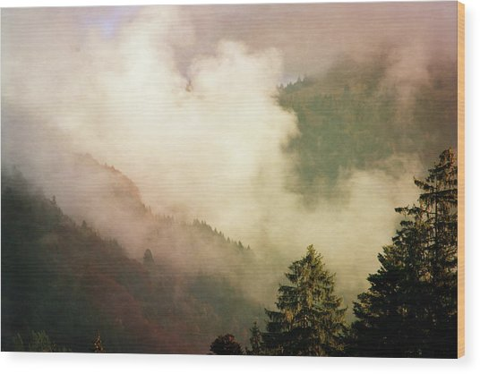 Fog Competes With Sun Wood Print