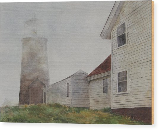 Fog On Monhegan Wood Print