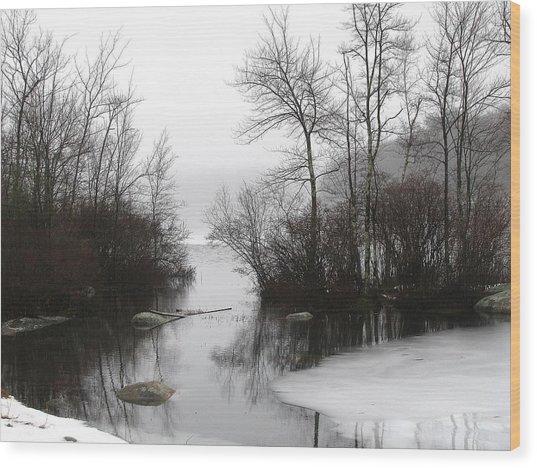 Fog On The Ponagansett Wood Print