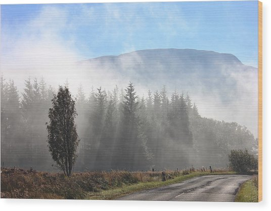 Fog On The Road To Fintry Wood Print