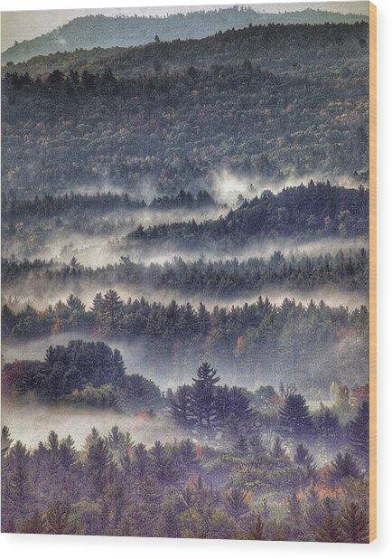 Fog Over The Contoocook, Henniker, Nh Wood Print