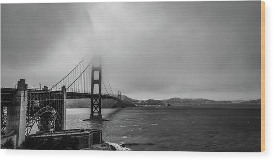 Fog Over The Golden Gate Bridge Wood Print