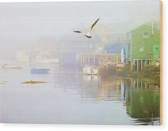 Fog Over West Dover - Digital Paint Wood Print
