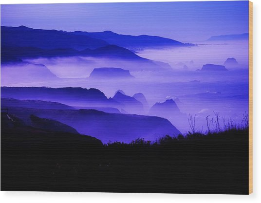 Fog Rising Wood Print