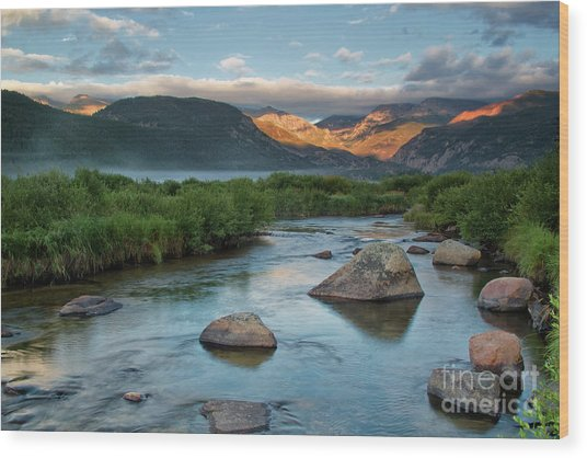 Fog Rolls In On Moraine Park And The Big Thompson River In Rocky Wood Print