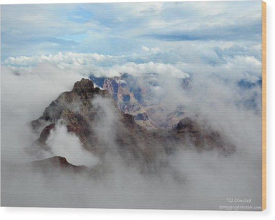 Fog Shrouded Vishnu Temple  Wood Print
