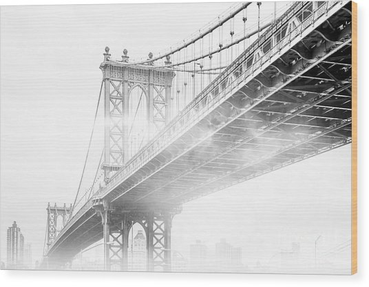 Fog Under The Manhattan Bw Wood Print
