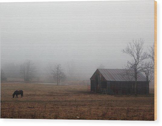 Foggy Barnyard Wood Print