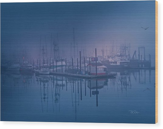 Foggy Bay Front Wood Print