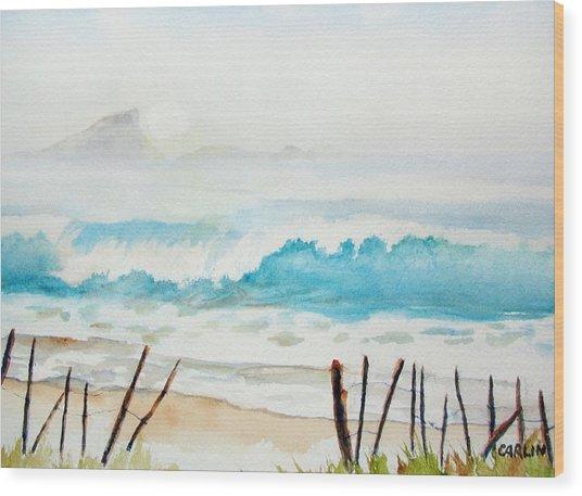 Foggy Beach Wood Print