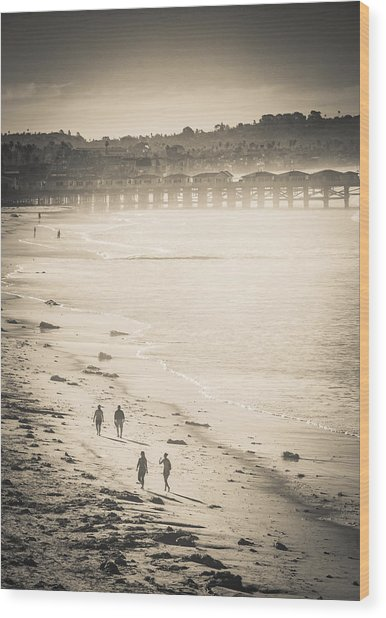 Foggy Beach Walk Wood Print