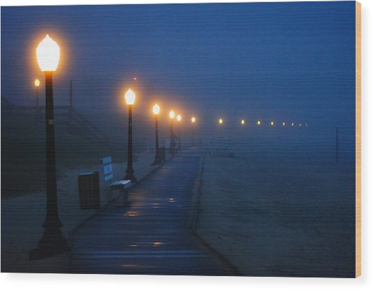Foggy Boardwalk Blues Wood Print